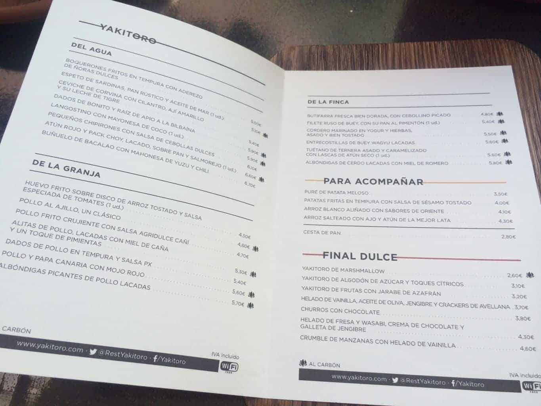 carta,yakitoro,chicote,restaurante