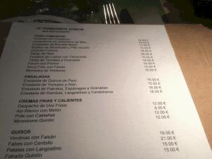carta del restaurante Mantequerías Quintín de Madrid