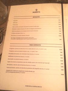 Carta,marieta,restaurante,castellana