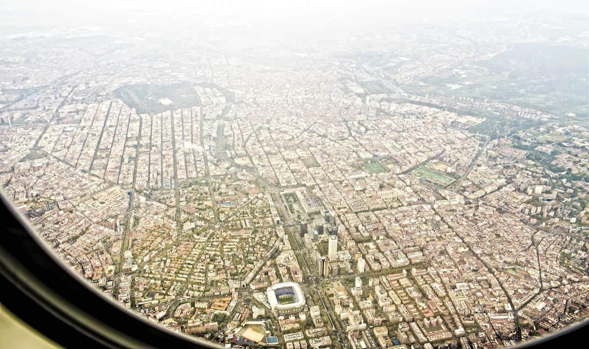Madrid,cielo,avion,aire,Retiro,Castellana,Santiago Bernabéu